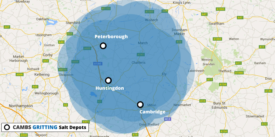 Map of gritting service areas Cambridgeshire and surroundings
